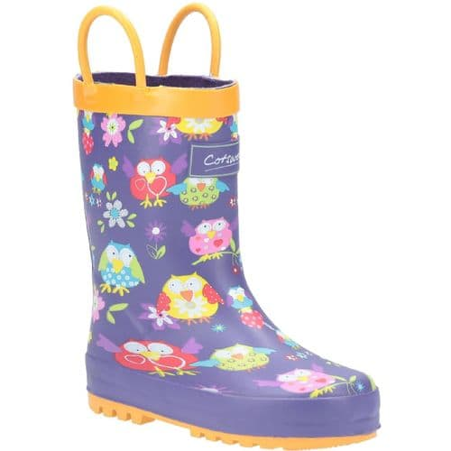 Cotswold Puddle Childrens Wellingtons Owl